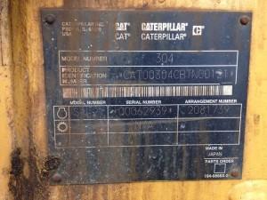 CAT 304CR コ―ションプレート
